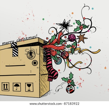 christmas vector illustration of a box with gifts and decorations