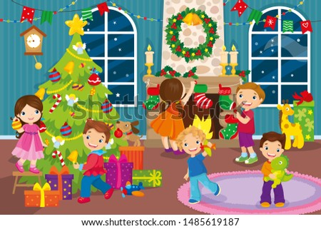 Christmas vector illustration of before Christmas happy children decorate room with toys and garlands
