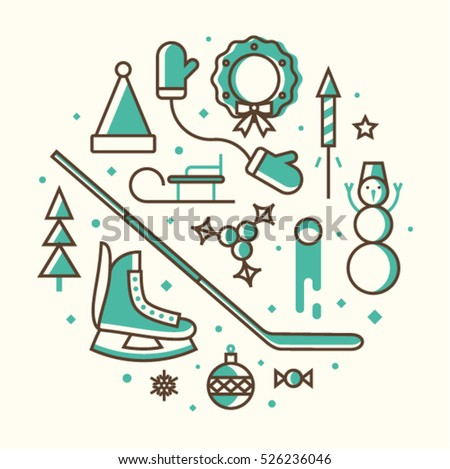 Christmas Vector Illustration Outline Icon Set White Background Hat Of Santa Claus