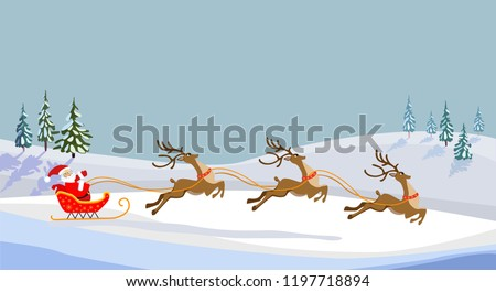 Christmas vector illustration. Santa on a sleigh with a bag of gifts. Running cartoon deer. Snow over Christmas trees.