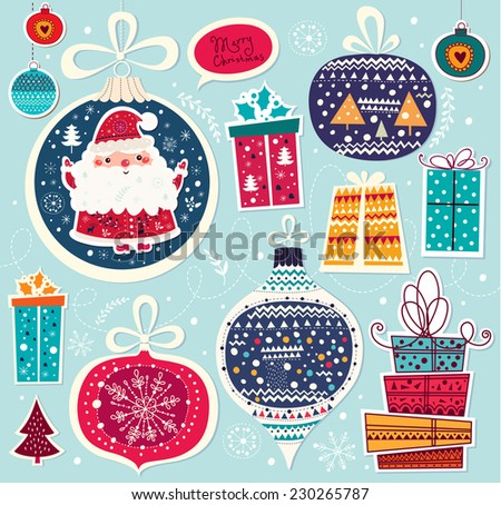 Christmas vector illustration with Santa Claus and gifts