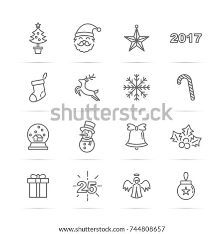 christmas 2017 vector line icons, minimal pictogram design, editable stroke for any resolution