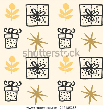 Christmas vector present box pattern. Wrapping paper design for presents