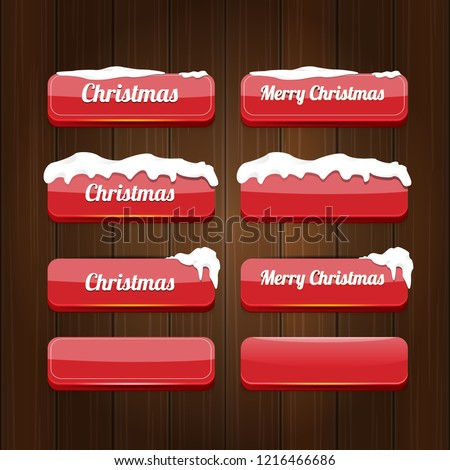 Christmas vector red glossy buttons set isolated on vintaeg wooden sign background. web red christmas sale buttons with snow, ice border