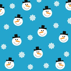 Christmas vector seamless pattern. Snowman and snowflakes on a blue background.