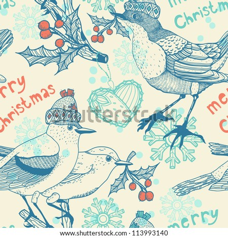 Christmas vector seamless pattern with fantasy birds