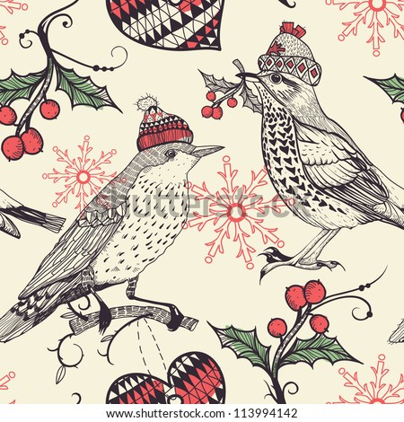 Christmas vector seamless pattern with fantasy birds and holly berries