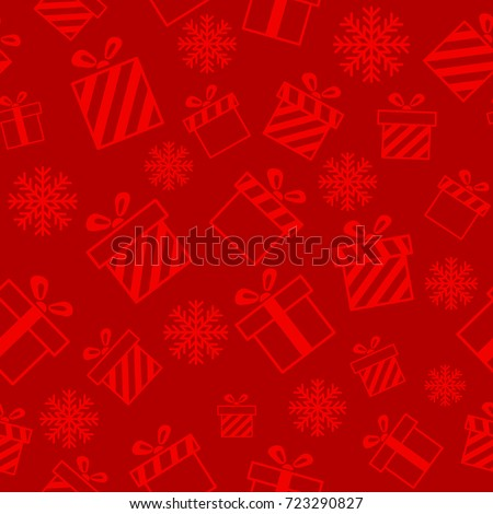 Christmas vector seamless pattern with gift boxes and snowflakes on red background. New year vector design. Wrapping paper for Christmas gift boxes