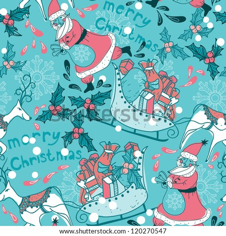 Christmas vector seamless pattern with Santa and deers