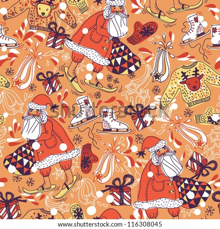 Christmas vector seamless pattern with Santa and gifts