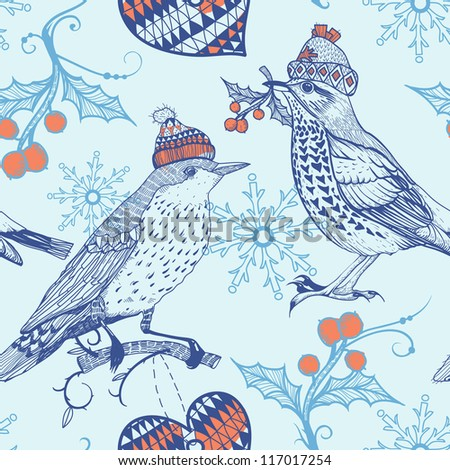 Christmas vector seamless pattern with vintage birds