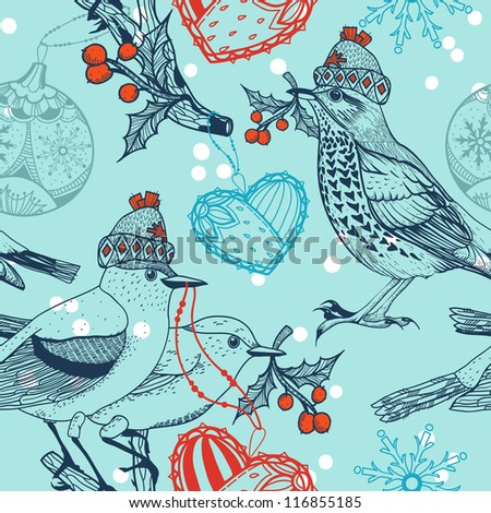 Christmas vector seamless pattern with winter birds and decorations
