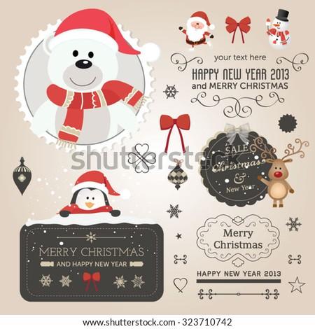christmas vector set   labels
