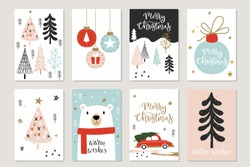 Christmas vector set of 8 cards, for invitations, greetings, posters, prints, tags, stickers, planners