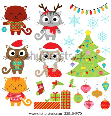 christmas vector set of cats in