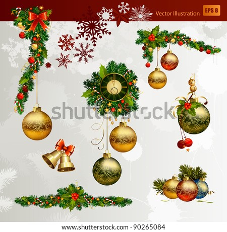 Christmas vector set of fir tree and evening balls, new year's  clock and festive bells - stock vector