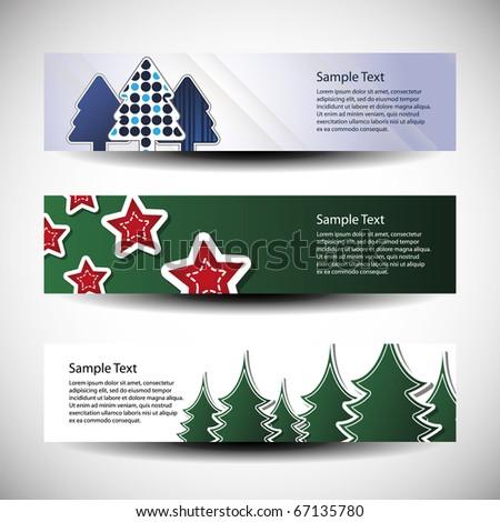 Christmas vector set of tree header design stock vector