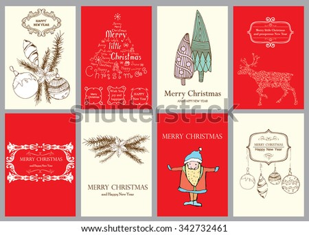 Christmas Vector Vintage Cards Set. Xmas Holiday Design, Graphic Elements. Typographic Labels for Greeting Cards, Banners and Posters Design.