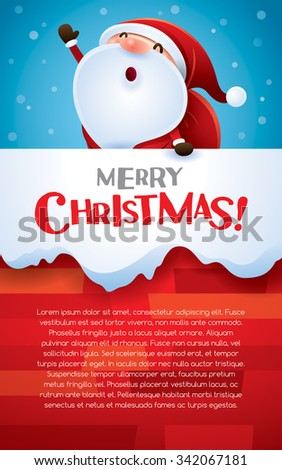 Christmas vertical banner. Santa Claus in the chimney. #342067181