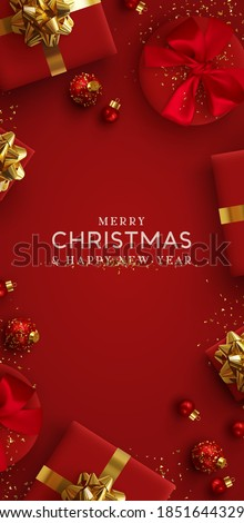 Christmas vertical red backgrounds, xmas poster, web banner. Holiday templates cover for social networks, design for and stories. Realistic 3d decorative objects. Happy New year. vector illustration