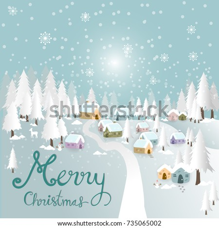 Stock Photo Christmas village on a hill with snow forest background. Vector illustration.