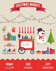 Christmas village, winter town, Christmas market, Xmas fair, Christmas poster. Merry Christmas background