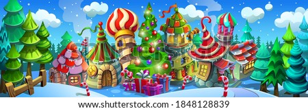 christmas village with colorful