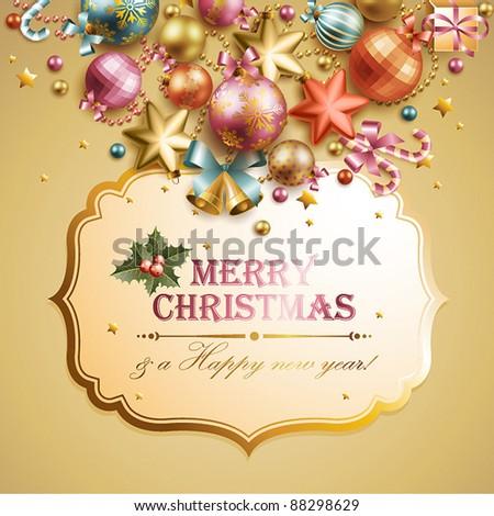 Christmas vintage background. Vector illustration. - stock vector