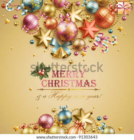 Christmas vintage background. Vector illustration.