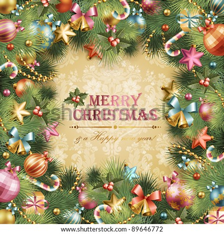 Christmas vintage background with baubles and christmas tree. Vector frame with green fir.