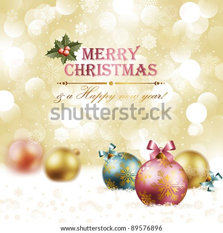 Christmas vintage background with baubles on snow. Vector illustration. Check my portfolio for raster version. - stock vector