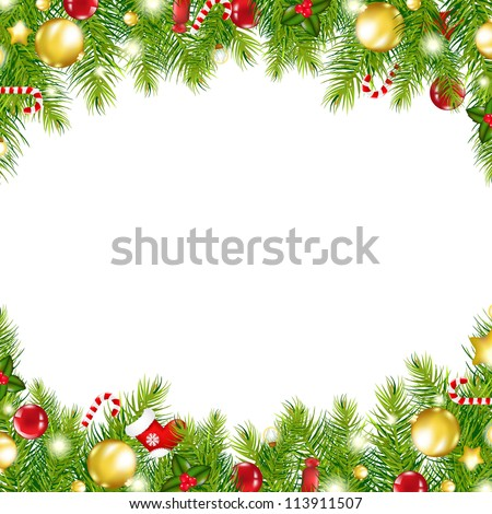 Christmas Vintage Border, Isolated On White Background, Vector Illustration