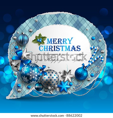 Christmas vintage bubble with baubles and place for text. Vector illustration.