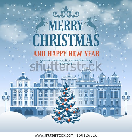 Christmas vintage card with the urban landscape and decorated fir tree. Detailed vector picture.