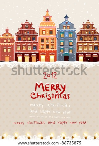 Christmas vintage card with the urban landscape, garlands and snowfall. Detailed eps10 vector picture.