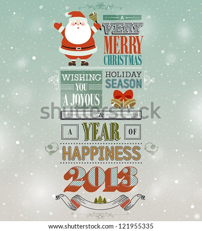 Christmas vintage greeting card. - stock vector