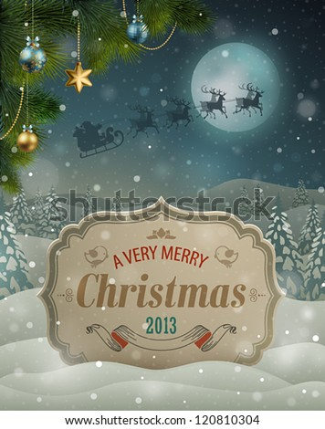 Christmas vintage greeting card on winter landscape.