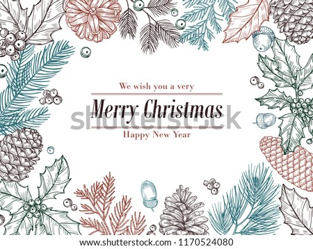 Christmas vintage invitation. Winter fir pine branches, pinecones floral border. Christmas, xmas botanical sketch frame vector card. Pine branch frame for holiday xmas illustration