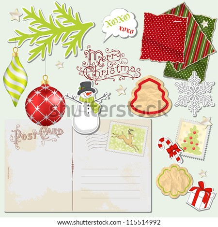 Christmas vintage paper set. Digital scrapbooking elements for you design.