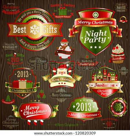 Christmas vintage set - labels and other decorative elements on wood texture. Vector illustration.
