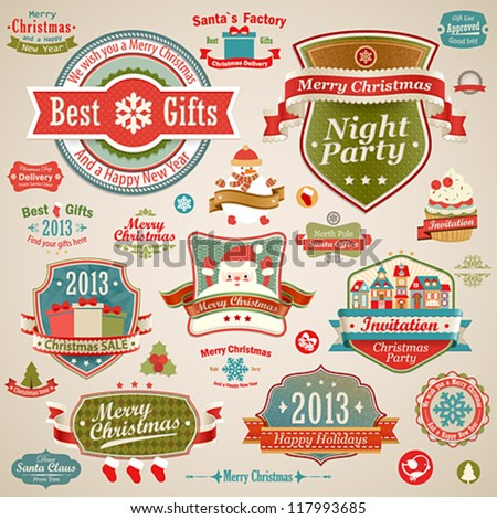Christmas vintage set - labels, ribbons and other decorative elements. Vector illustration.