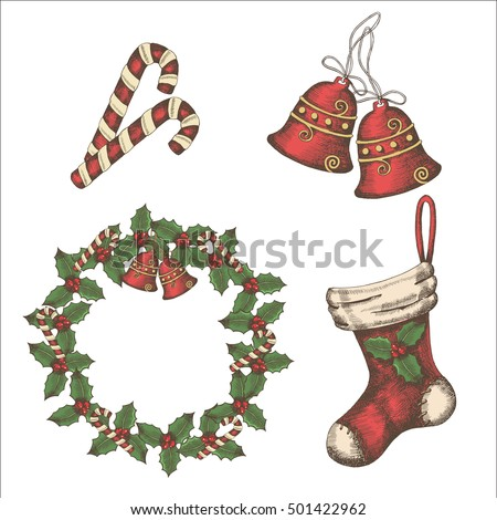 Christmas vintage set of bells, candies, wreath of holly and socks. Hand-drawn, sketch.