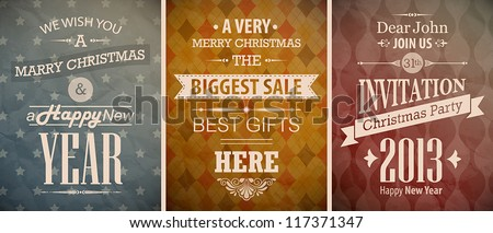 Christmas vintage set retro greeting cards Vector illustration