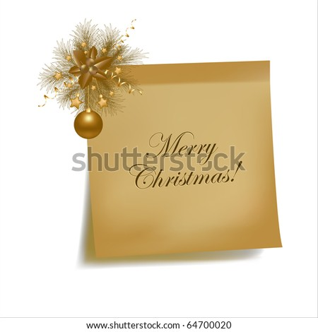 Christmas Vintage Sticky, Isolated On White Background, Vector Illustration - stock vector