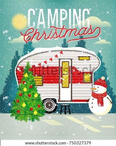 Christmas Vintage Travel Poster with Travel Trailer in Winter Forest. Vector illustration.