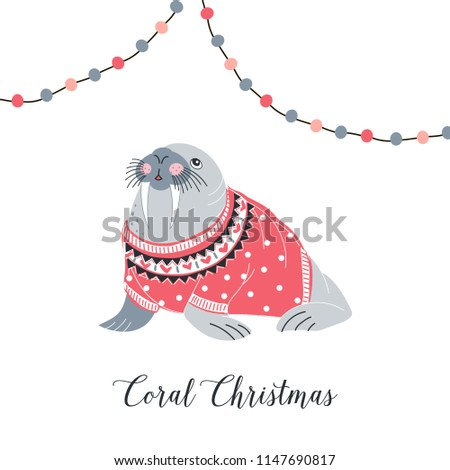 Christmas Walrus in jacquard pullover, whimsical art