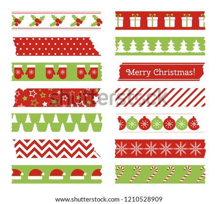 Christmas washi tapes. Vector set of colored scotch lines