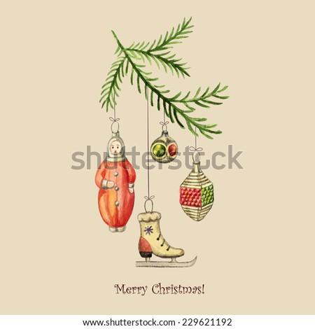 christmas watercolor retro