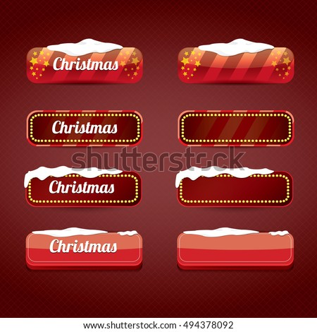 Christmas web buttons set. winter web buttons collection