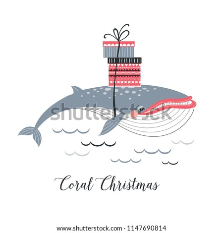 Christmas Whale with presents, whimsical art